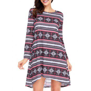 Christmas Snowflake Print Long Sleeve Dress - RED/BLACK S