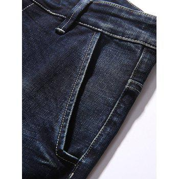 Zipper Fly Graphic Tapered Fit Jeans - DEEP BLUE 36