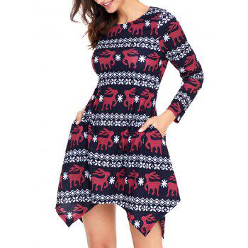 Christmas Deer Print Long Sleeve Asymmetric Dress - BLACK L