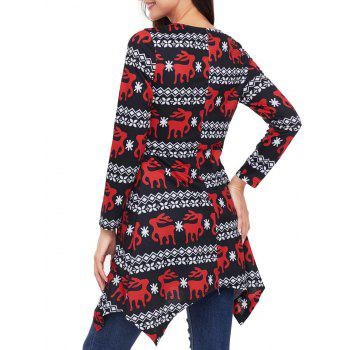 Christmas Deer Print Long Sleeve Asymmetric Dress - RED M