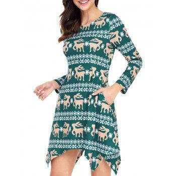 Christmas Deer Print Long Sleeve Asymmetric Dress - GREEN M