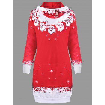 Christmas Hooded Santa Claus Print Dress - RED RED
