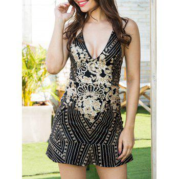 Embroidered Sequin Backless Cami Dress - BLACK BLACK