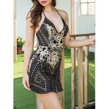 Embroidered Sequin Backless Cami Dress - BLACK XL