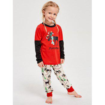 Elk Printed Long Sleeve Matching Family Christmas Pajama - RED KID S