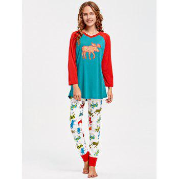 ELK Pattern Family Christmas Pajamas - multicolor MOM 2XL
