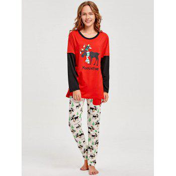 Elk Printed Long Sleeve Matching Family Christmas Pajama - RED MOM S