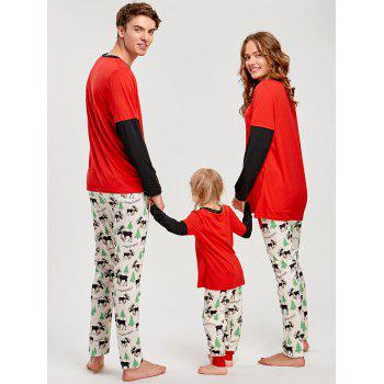 Elk Printed Long Sleeve Matching Family Christmas Pajama - RED MOM 3XL