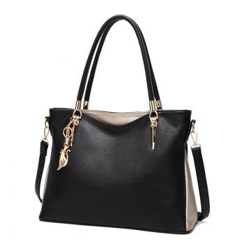 PU Leather Metallic Shoulder Bag - BLACK