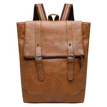 Double Buckle Straps Faux Leather Backpack - BROWN BROWN