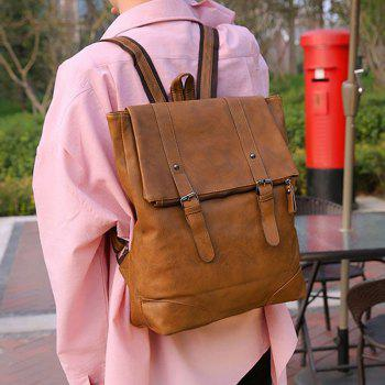 Double Buckle Straps Faux Leather Backpack -  BROWN