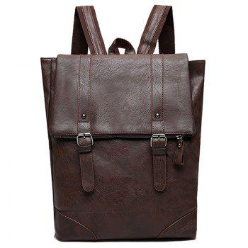 Double Buckle Straps Faux Leather Backpack - DEEP BROWN DEEP BROWN