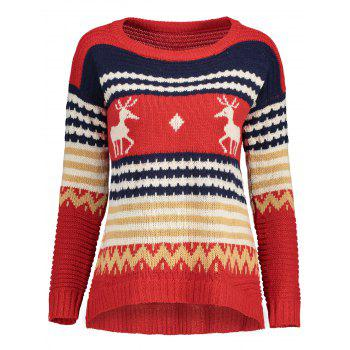 Reindeer Knit Sweater - RED RED