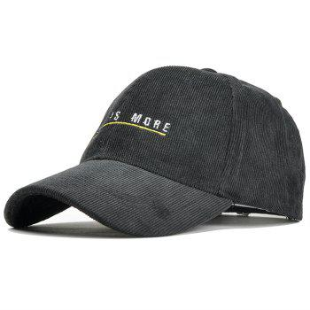 Less is More Pattern Decorated Corduroy Baseball Hat - BLACK BLACK