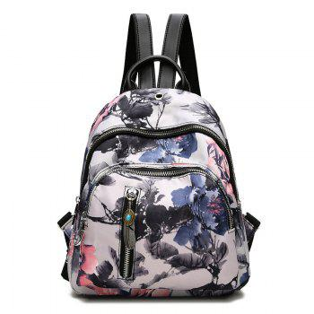 Flower Print Backpack With Headphone Hole - FLORAL FLORAL