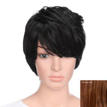 Short Inclined Bang Natural Straight Human Hair - AUBURN BROWN #30 AUBURN BROWN