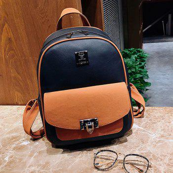 Multi Function Faux Leather Backpack With Handle -  BLACK