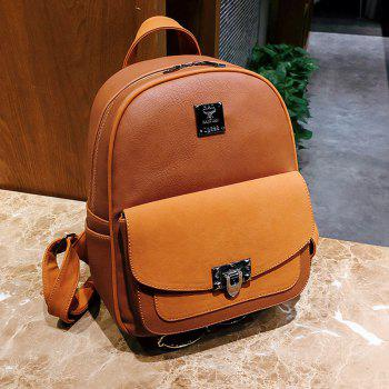 Multi Function Faux Leather Backpack With Handle -  BROWN