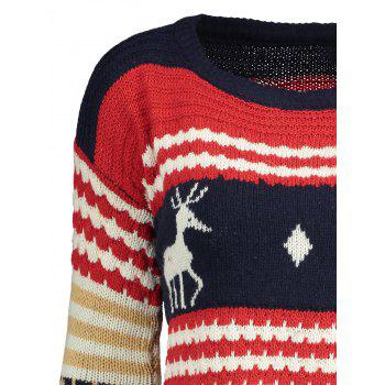 Christmast Elk Sweater - BLUE ONE SIZE