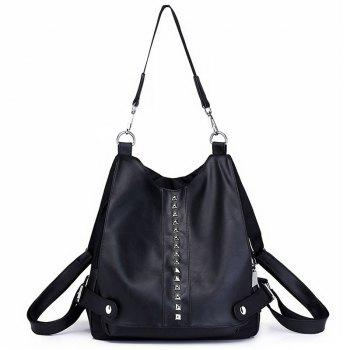 Faux Leather Studs Multi Function Backpack - BLACK BLACK