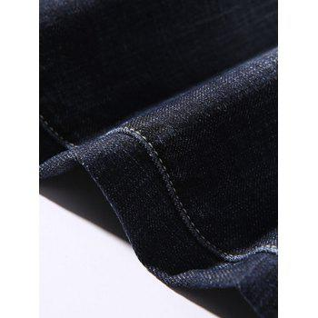 Zipper Fly Tapered Fit Pockets Jeans - DEEP BLUE 42