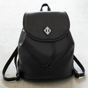 String Metal PU Leather Backpack - BLACK BLACK