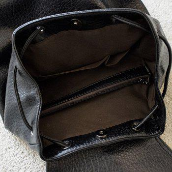 String Metal PU Leather Backpack -  BLACK