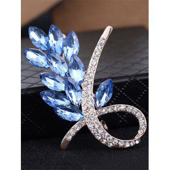 Faux Crystal Rhinestone Flower Brooch - BLUE