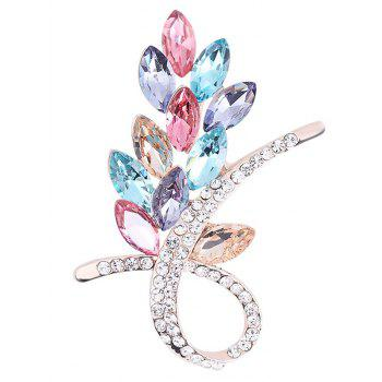 Faux Crystal Rhinestone Flower Brooch - COLORMIX COLORMIX