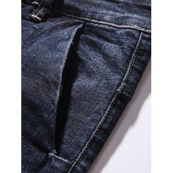 Zipper Fly Tapered Fit Pockets Jeans - DEEP BLUE 34