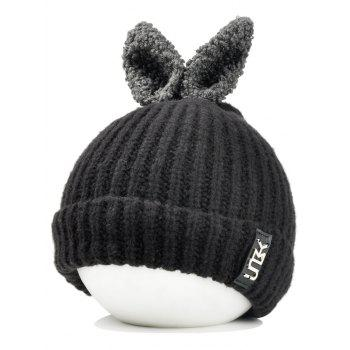 Cute Rabbie Ear Letter Label Decorated Knitted Beanie - BLACK BLACK