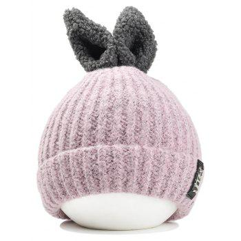 Cute Rabbie Ear Letter Label Decorated Knitted Beanie - PINK PINK