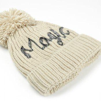 Outdoor Fuzzy Ball Embellished Flanging Knitted Beanie -  BEIGE