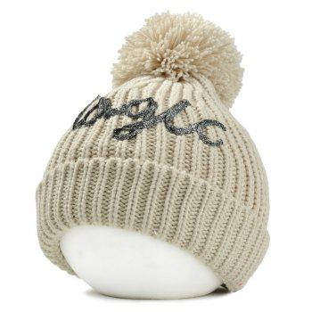 Outdoor Fuzzy Ball Embellished Flanging Knitted Beanie - BEIGE BEIGE