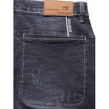 Zipper Fly Tapered Fit Pockets Jeans - DEEP BLUE DEEP BLUE