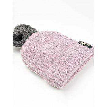 Cute Rabbie Ear Letter Label Decorated Knitted Beanie - PINK