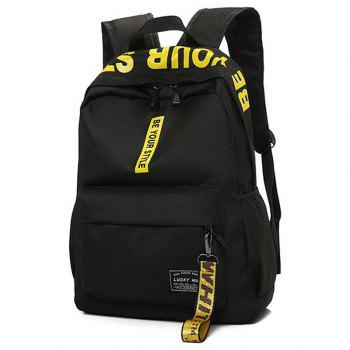 Letter Print Multi Function Backpack With Handle - YELLOW