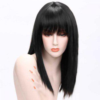 Long Human Hair Full Bang Straight Wig - JET BLACK #01 JET BLACK