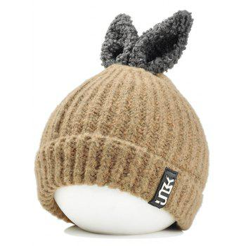 Cute Rabbie Ear Letter Label Decorated Knitted Beanie - KHAKI KHAKI