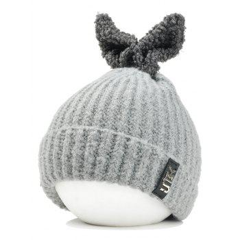 Cute Rabbie Ear Letter Label Decorated Knitted Beanie - LIGHT GRAY LIGHT GRAY