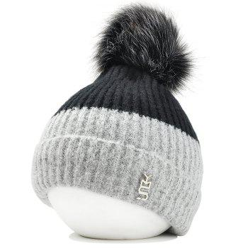 Metal Letter Fuzzy Ball Embellished Flanging Knitted Beanie - DARK GREY