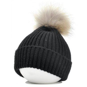 Fuzzy Ball Decorated Flanging Crochet Knitted Beanie - BLACK BLACK