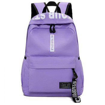 Letter Print Multi Function Backpack With Handle - PURPLE PURPLE