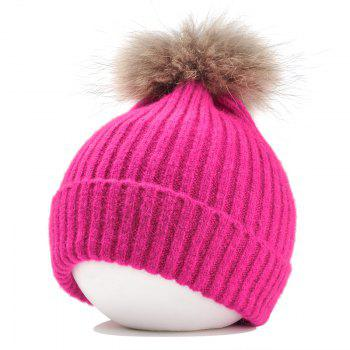 Fuzzy Ball Decorated Flanging Crochet Knitted Beanie - TUTTI FRUTTI TUTTI FRUTTI