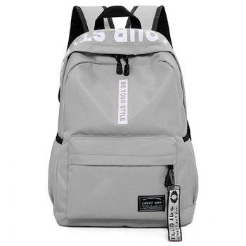 Letter Print Multi Function Backpack With Handle - GRAY GRAY