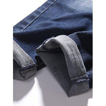 Zipper Fly Whisker Design Tapered Fit Jeans - DEEP BLUE 38