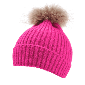 Fuzzy Ball Decorated Flanging Crochet Knitted Beanie -  TUTTI FRUTTI