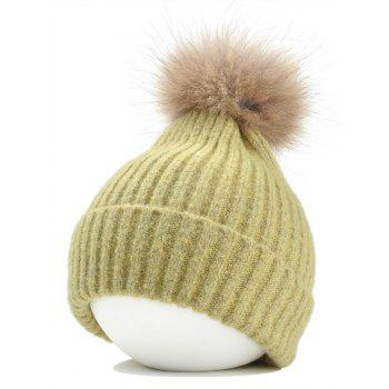 Fuzzy Ball Decorated Flanging Crochet Knitted Beanie - YELLOW YELLOW