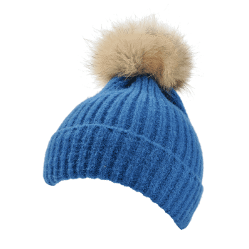 Fuzzy Ball Decorated Flanging Crochet Knitted Beanie -  LAKE BLUE