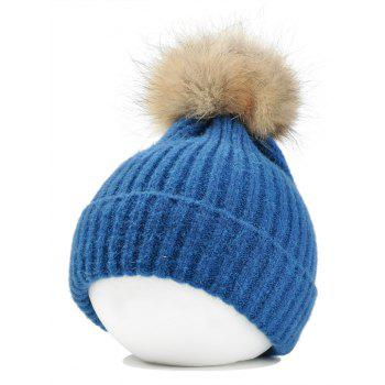 Fuzzy Ball Decorated Flanging Crochet Knitted Beanie - LAKE BLUE LAKE BLUE